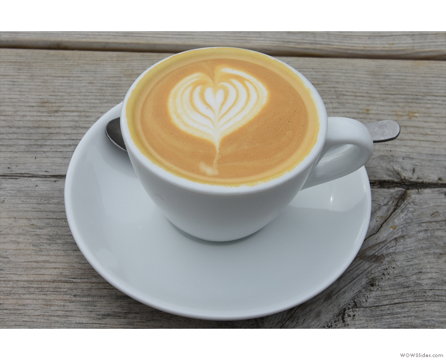 I decided to have a flat white, made with the single-origin...