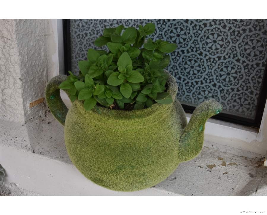 Riverbanc has some neat features, including this tea/plant pot out on the decking.
