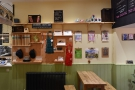 There's also a small retail section on the wall beyond the counter.