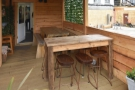 ... including a pair of six-person tables, one high and one low.
