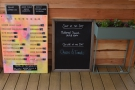 Down to business. There are plenty of menus, including this one out on the decking.