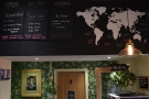There are details of the coffee on the back wall, with a map showing where it came from.