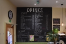 ... with the drinks menu handily placed on the wall to your left if you're ordering to go.