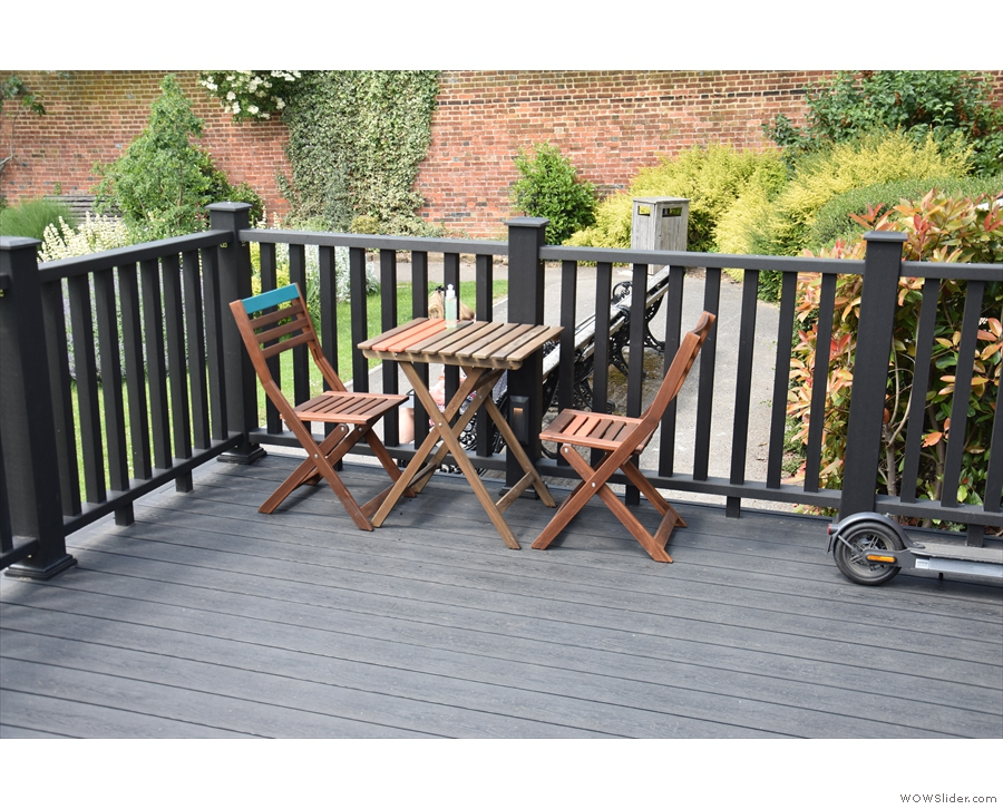 There's plenty of choice if you want to sit on the terrace, starting with this table at the...