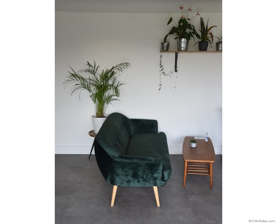 This is one of two sofas, with its back to the counter.