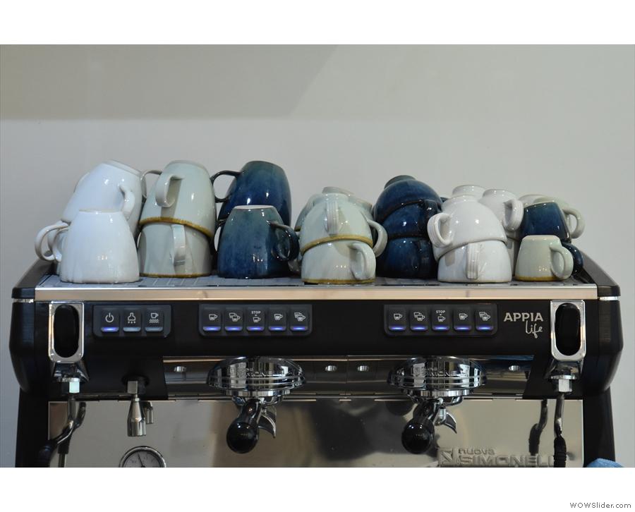 ... and a Nuova Simonelli Appia espresso machine. The cups are from Surrey Ceramics...