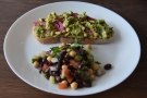 I had the avocado toast with bean and chickpea salad on the side.