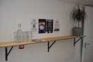 ... while on the wall behind you/to your left, are these bottles of water and glasses.