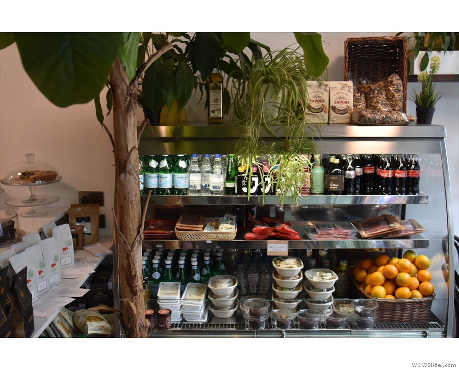 Unusually for a coffee shop, Surbeanton is also a deli, with the chiller cabinet...