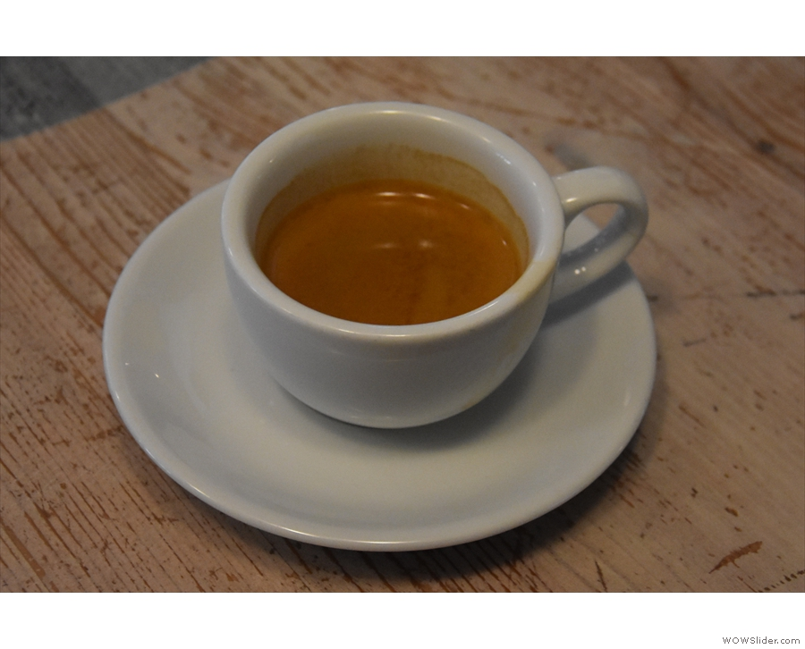 And here it is, my espresso, made with Chimney Fire Coffee's Classic Espresso.