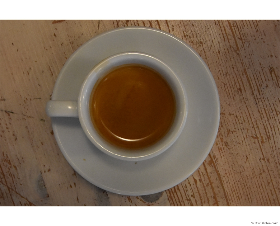 I'll leave you with a classic view of my classic espresso (in a classic cup).