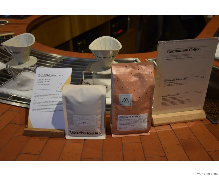 Pour-over is at the front of the counter, along with that month's options...