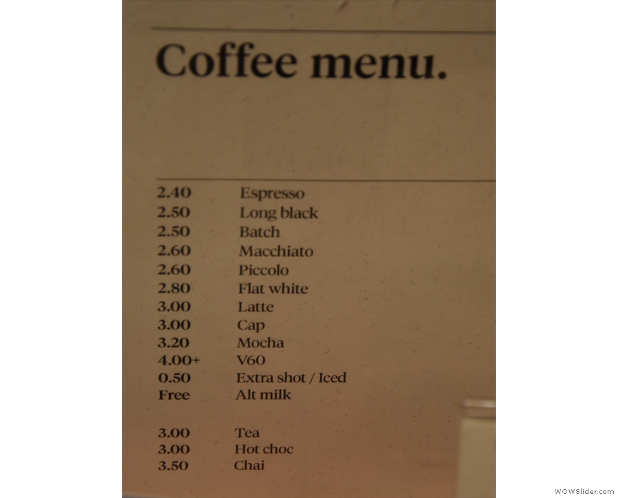 ... which is where you'll find the coffee menu.