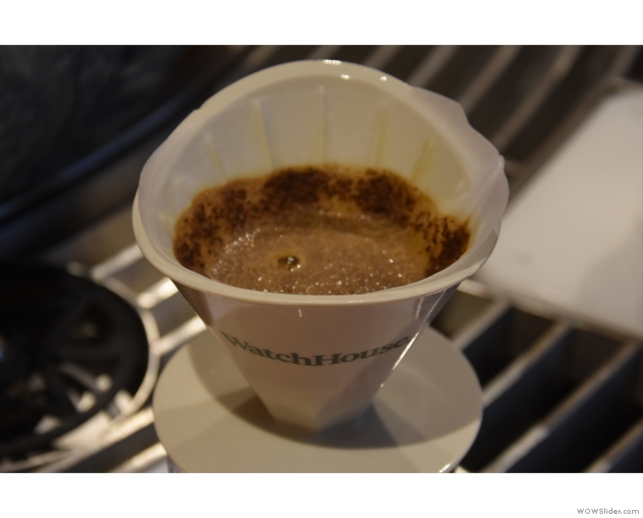 ... the first pour, where a small amount of water is added, then the coffee is left to bloom.