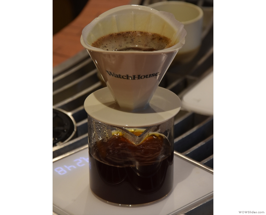 ... while all the coffee filters through into the carafe ready for serving.
