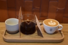 I was there to meet up with Bex. Our coffee arrived on a neat little tray...