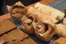 ... with the cinnamon buns standing guard to keep them apart from the savouries.