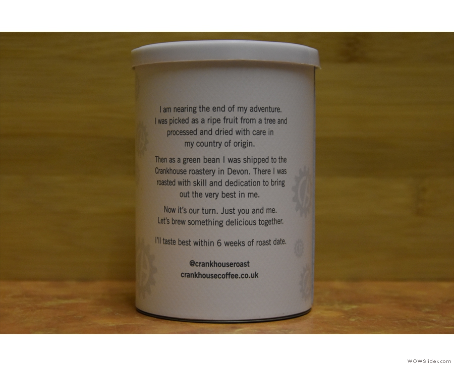 I'll leave you with the neat little note that's on the back of each tin.