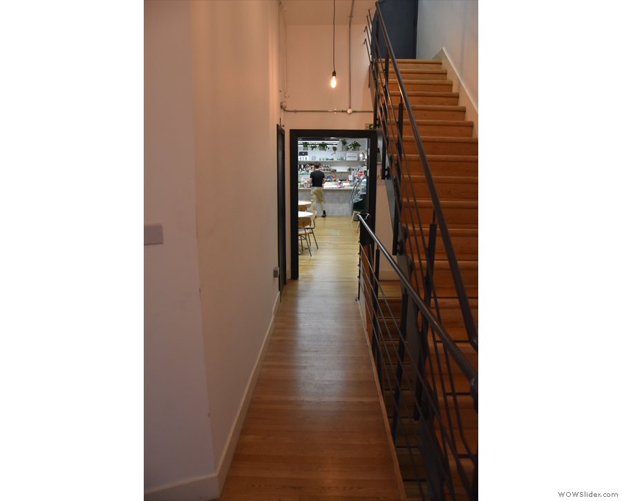 The door leads to a long, broad hallway, with stairs up on the right. However, we want...