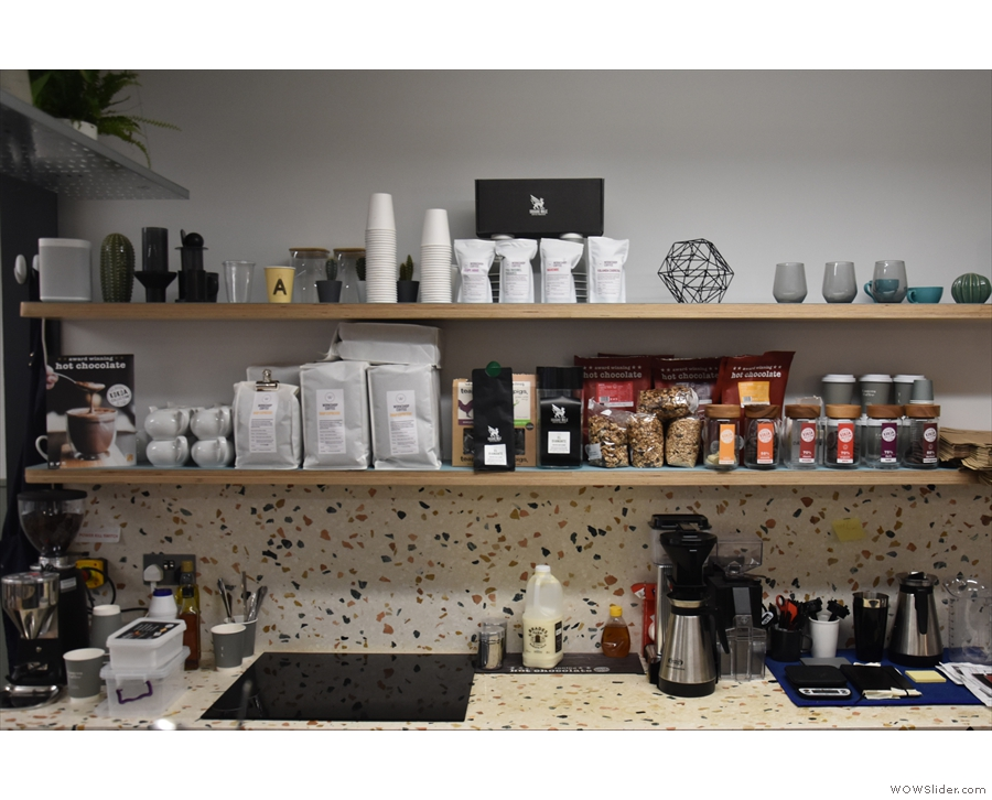 ... ever-reliable Moccamaster is on the shelf at the back of the counter for batch-brew.