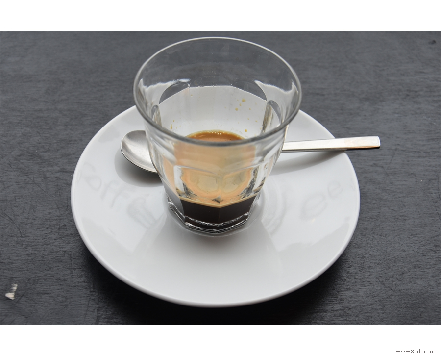 It's still quite rare to find places that serve espresso in a glass...