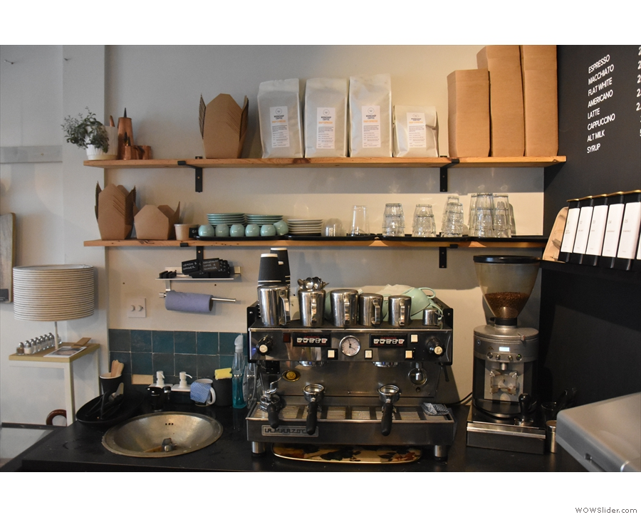 The coffee side of the business is at the back of the counter...