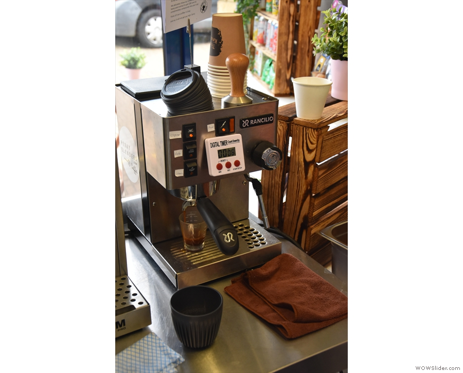 The shots are also timed. For now, Sarah is using a one-group Rancilio Silvia...