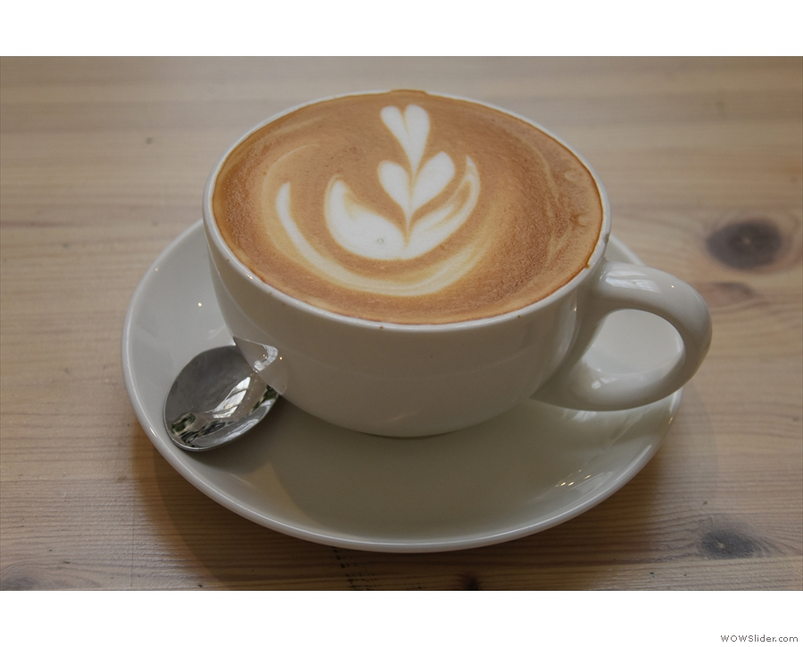 I opted for a decaf flat white which came with some...