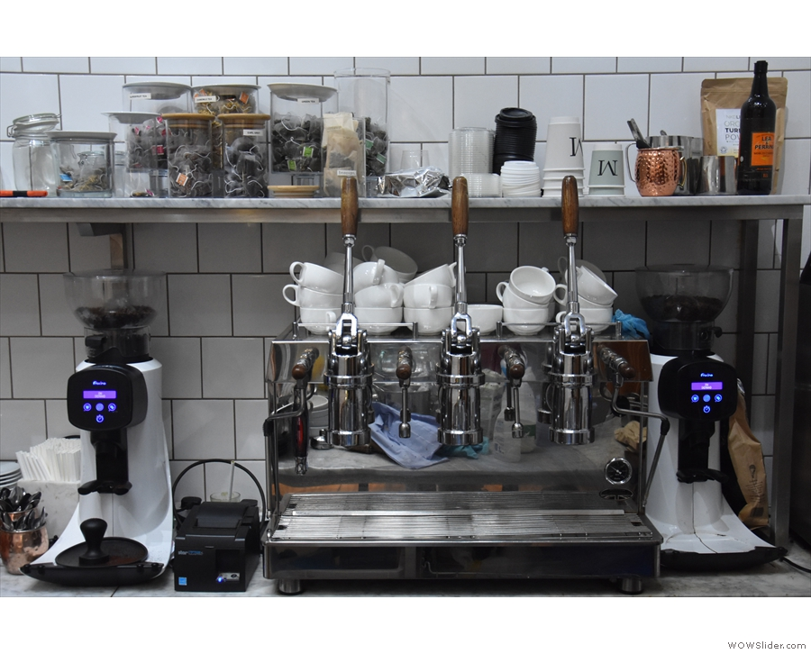 I also had coffee, the shots pulled on this manual lever machine from Fracino.