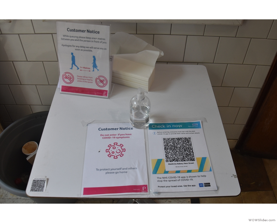 ... along with hand sanitiser and the QR Code for the NHS App.