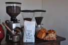The three grinders are for the house blend, the guest (Caravan) and the decaf.