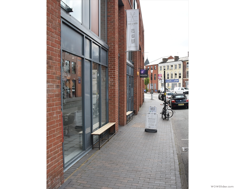 Heading south on Birmingham's Caroline Street, you reach hairdressers, Hazel & Haydn.