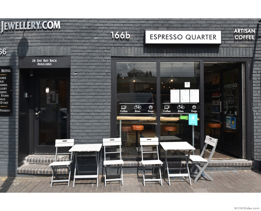 ... whichever direction you approach it from, there's not a lot to Espresso Quarter.