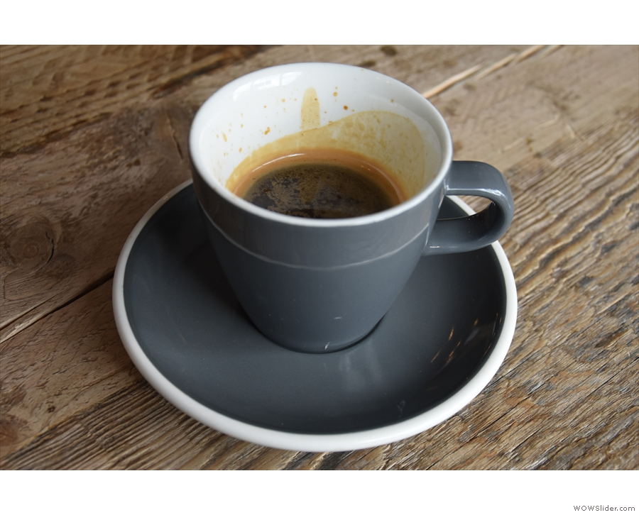 I decided to put that to use, ordering an espresso, which came in an over-sized cup...