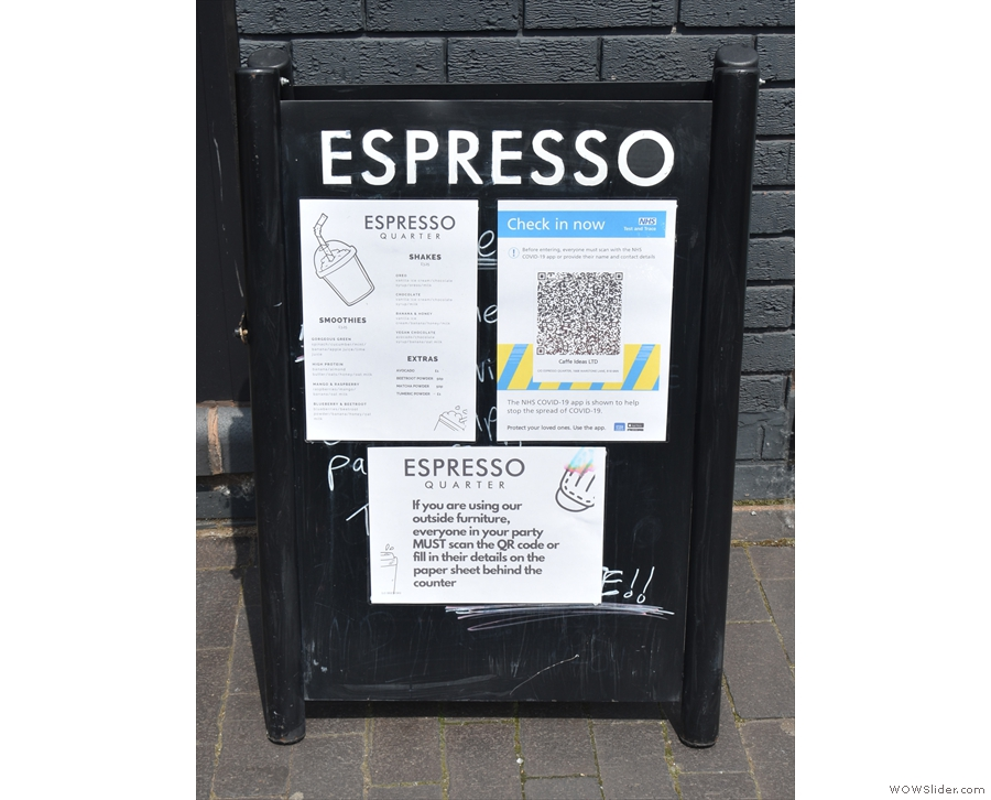 The A-board, meanwhile, is pressed into service for COVID-19 notices.