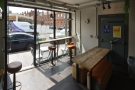 This is the (current) extent of the seating in Espresso Quarter, as seen from the counter.