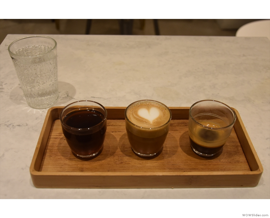 My eye was drawn to the bottom, where it said 'coffee flight', so I ordered one.
