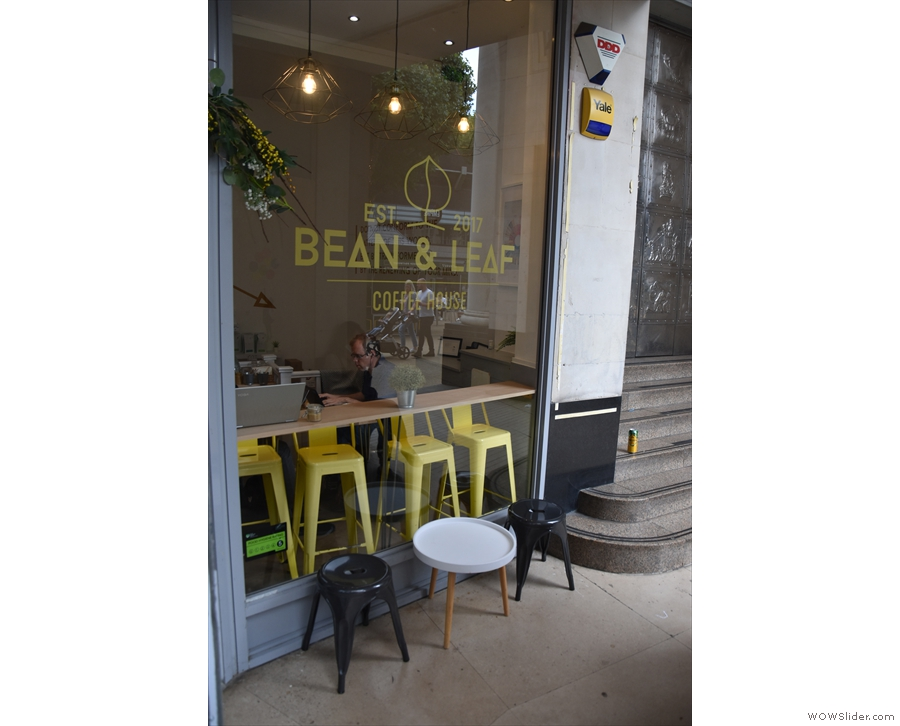 ... looking in through the window, Bean & Leaf seems fairly small!