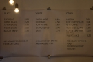 The drinks menu is on the back wall...