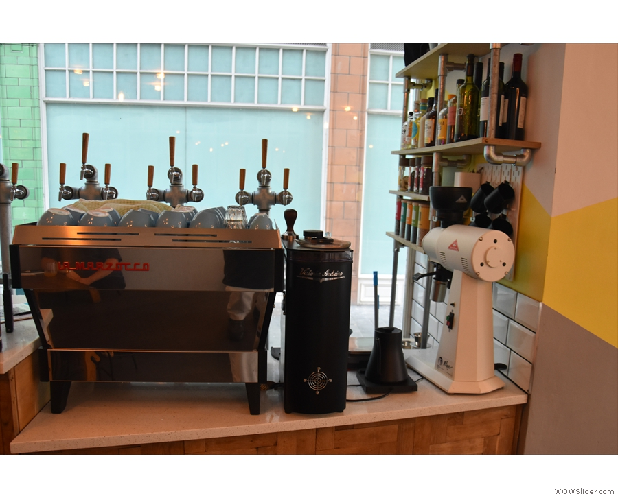 ... and while the La Marzocco Linea and EK43 are still there, there's just one Mythos One.