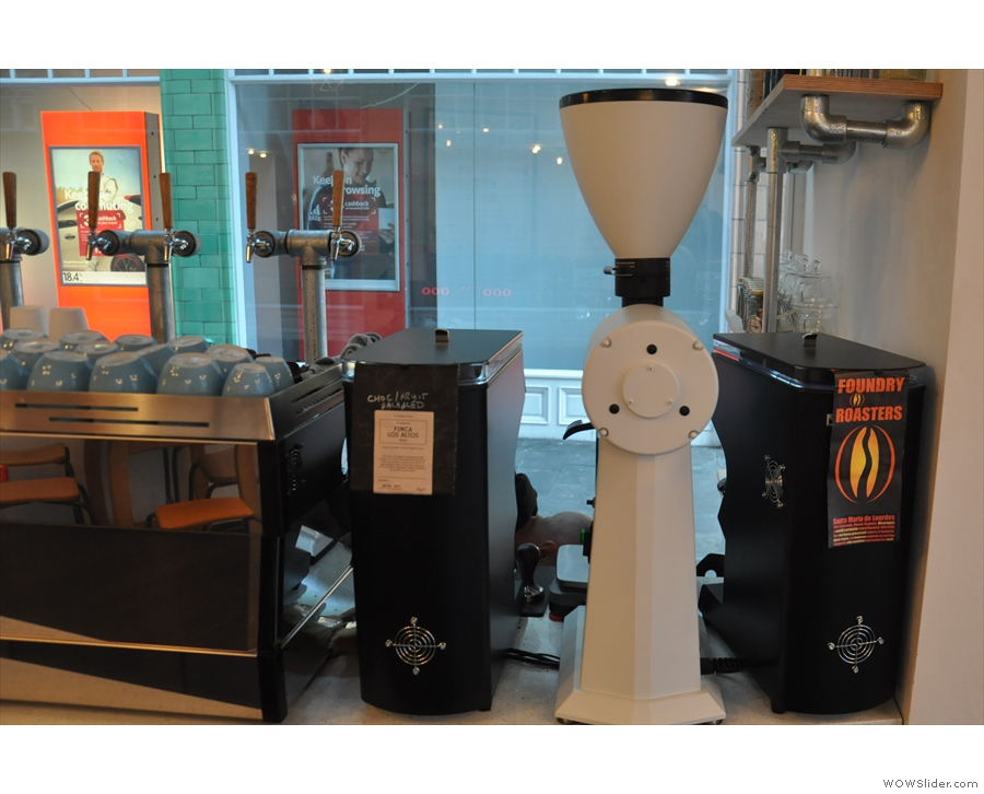 ... and twin Mythos One grinders for the house and guest espresso.