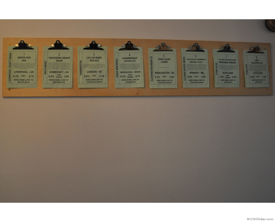 ... matching this list of eight beers on the wall.
