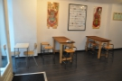 There's been a less drastic reduction in tables to the left of the double doors, where...