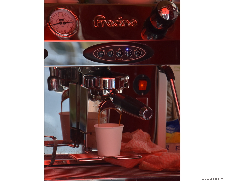 It's neat, since you can watch your espresso extracting (or, in this case, someone else's).