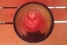 ... all the way to the bottom of the cup (the red tinge is from the umbrella overhead!).