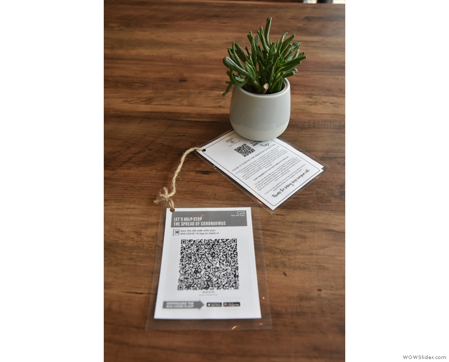 There's the QR Code for the NHS app on the tables, but to order, you have to go up to...