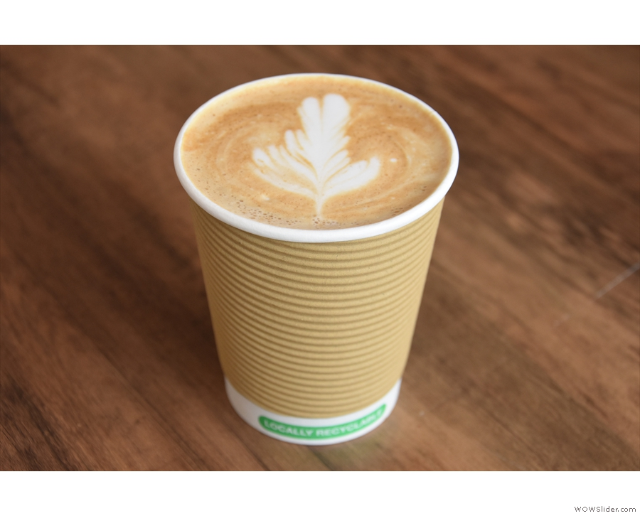... very photogenic! I paired this with a flat white. Gloria & Lil's is only using disposable...