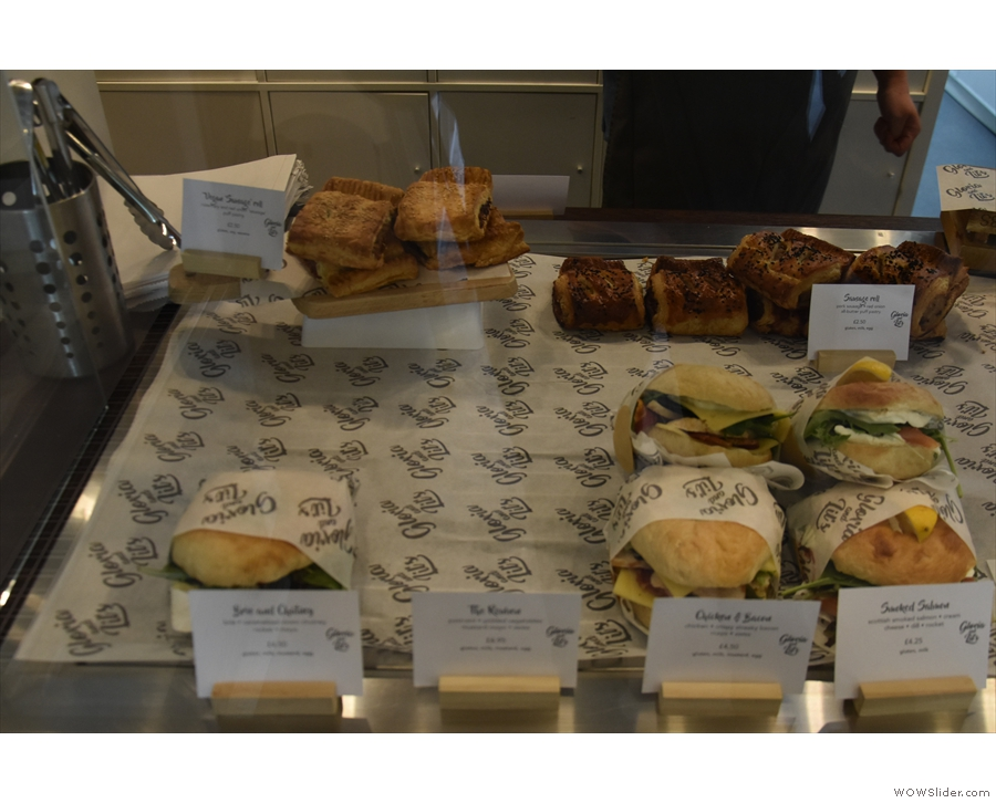 There's a small(er) selection of pre-prepared sandwiches and other savouries at the end.