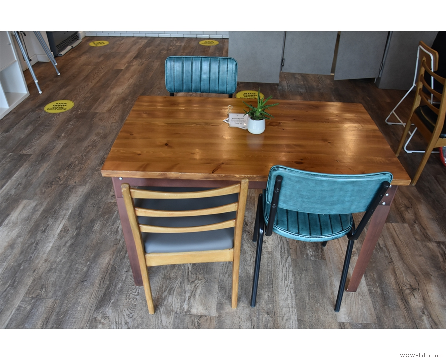 The last of the seating is this four-person table in the middle.