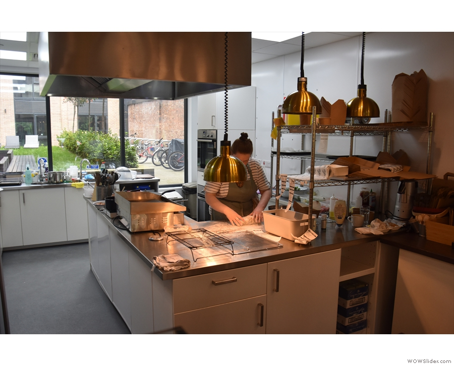 Everything you see is freshly prepared in this bright and airy kitchen behind the counter.